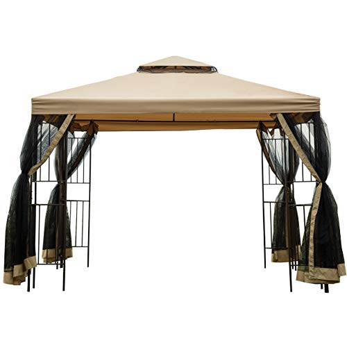 Sunnyglade Garden Gazebo Polyester Fabric 10' x 10' Patio Backyard Double Roof Vented Gazebo Canopy