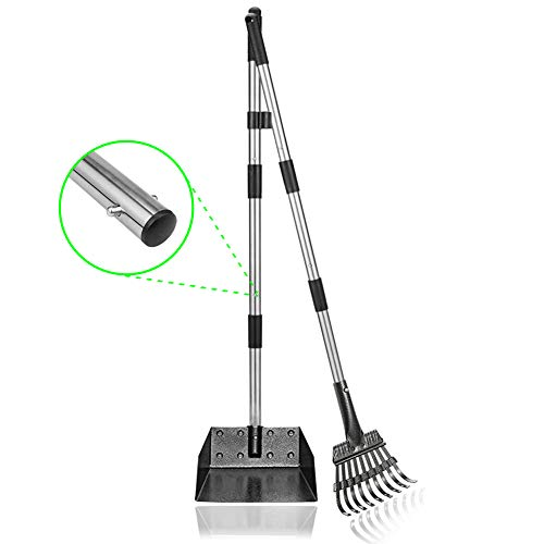 Snagle Paw Pooper Scooper Tray and Rake Set,44 Inches Pet Poop Scooper Tray and Rake with Adjustable Long Handle Metal for Pet Waste Removal
