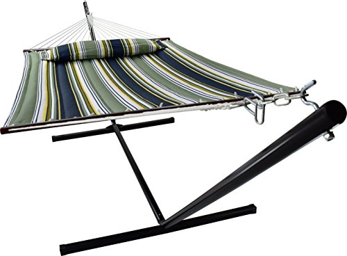 Sorbus Hammock with Stand & Spreader Bars and Detachable Pillow, Heavy Duty, 450 Pound Capacity, Accommodates 2 People, Perfect for Indoor/Outdoor Patio, Deck, Yard (Hammock with Stand, Blue/Aqua)