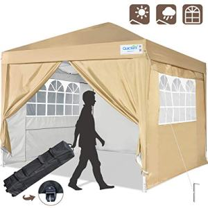 Quictent Silvox 10x10 Ez Pop Up Canopy Tent Enclosed Instant Canopy Shelter Protable Waterproof with Sidewalls and Church Windows (Beige)