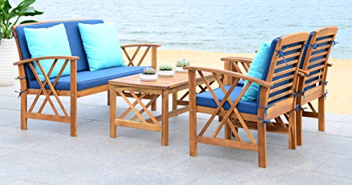 Safavieh Collection Fontana Teak Look and Navy 4 Pc ... on Fontana 4 Pc Outdoor Set  id=21433