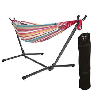 ONCLOUD Double Hammock with Stand 9 FT Space Saving, Hammock Stands Heavy Duty Includes Portable Carrying Case for Outdoor or Indoor (Red Yellow)
