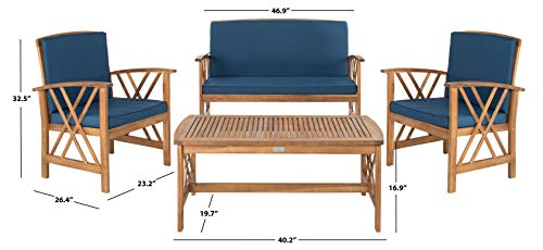 Safavieh Collection Fontana Teak Look and Navy 4 Pc ... on Fontana 4 Pc Outdoor Set  id=67790