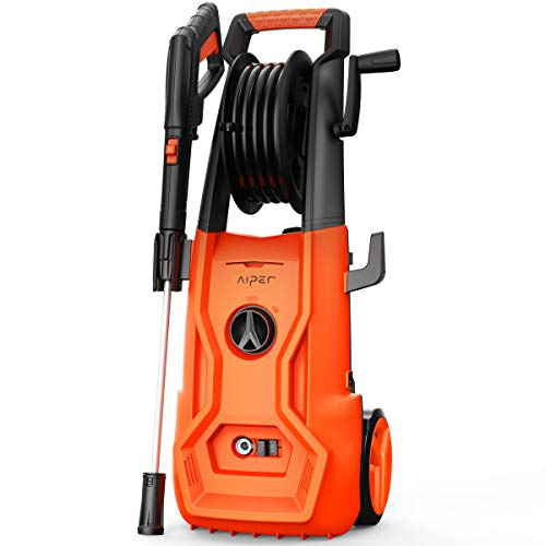 AIPER Electric Power Washer 2150 PSI 1.85 GPM Pressure Washer 1800W Cleaner Machine with Adjustable Nozzle, Long Hose, Hose Reel, and Spray Gun