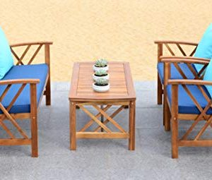 Safavieh Collection Fontana Teak Look and Navy 4 Pc ... on Fontana 4 Pc Outdoor Set  id=80305