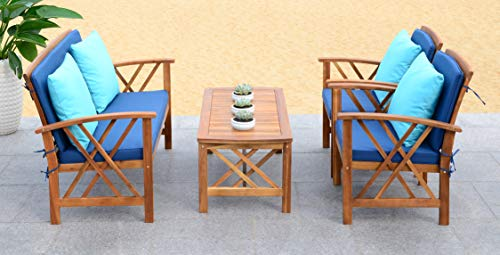 Safavieh Collection Fontana Teak Look and Navy 4 Pc ... on Fontana 4 Pc Outdoor Set  id=96056
