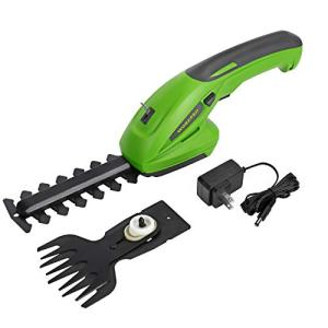 WORKPRO 7.2V 2-in-1 Cordless Grass Shear + Shrubbery Trimmer - Handheld Hedge Trimmer, Rechargeable Lithium-Ion Battery and Charger Included