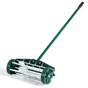 """18"""" Heavy Duty Rolling Lawn Aerator With Wide Splash-proof Fender Strong Steel Long Handle And Multiple Spike Tine Roller Suitable For Any Soil Home Garden Outdoor Push Spike Aerator Space Saving"""
