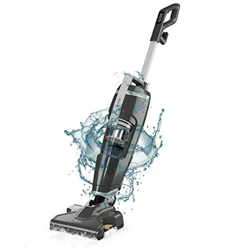 COSTWAY Vacuum and Steam Mop All in One, Compact Bagless 14Kpa Wet-Dry Vacuum Cleaner with HEPA Filtration, Cord Rewind and Comfort Handle, Steam Upright Vac for Hardwood, Tile Floors, Home and Office