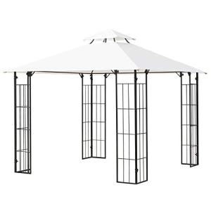 Outsunny 10' x 10' Decorative Outdoor Steel Patio Gazebo with Double Vented Canopy Roof for Garden Lawn