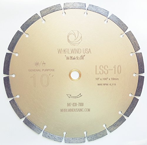 """Whirlwind USA LSS 10-Inch Dry or Wet Cutting General Purpose Power Saw Segmented Diamond Blades for Concrete Stone Brick Masonry (Factory Direct Sale) (10"""")"""