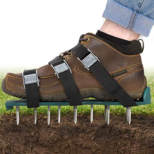 Abco Tech Lawn Aerator Shoes - for Effectively Aerating Lawn Soil - 3 Adjustable Straps and Heavy Duty Metal Buckles - One Size Fits All - Easy Use for a Healthier Yard and Garden