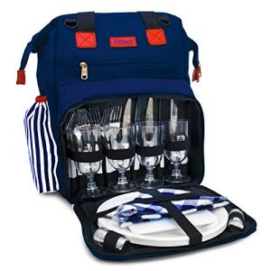 "Rolio Picnic Backpack for 4 Person, Insulated Cooler Compartment, 2 Bottle Holders, Complete Stainless Steel Cutlery Set, 9"" Plastic Plates, Cutting Board, Waterproof Blanket"