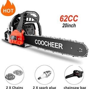 "couply 62CC Cordless Chainsaw, 20"" Gas Powered Chainsaw with 2 Stroke, Handed Petrol Gasoline Saw Woodcutting Saw for Garden, Farm and Ranch with Tool Kit"