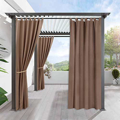 RYB HOME Outdoor Curtains for Porch - Blackout Exterior Shades for Front Gazebo Stain Proof Thermal Insulated Panel for Garden with Tab Top, Single Piece, Width 52 by Length 84 Inch, Mocha