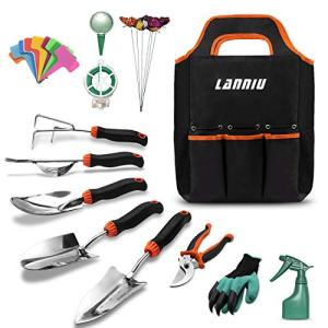 LANNIU Garden Tool Set, 27 Piece Stainless Steel Heavy Duty Gardening Tool Set, Gardening Tools for Women/Grandparents/Parents