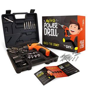 My First Power Drill Set - Real Cordless Drill for Boys and Girls - Lightweight, LED Light, Child Size Kit, Carrying Case, Includes Bits, Charger, 5 Year Warranty