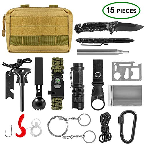ACVCY Survival Gear Kit, 14 in 1 Emergency Survival Kit Professional Emergency Camping Gear Tactical Survival Kit for Camping Hiking Hunting with Wire Saw Emergency Blanket etc
