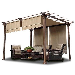 Yescom 2 Pcs 15.5x4 Ft Canopy Cover Replacement with Valance for Pergola Structure Tan