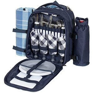 Best Choice Products 4-Person Insulated Portable Picnic Bag Set w/Blanket, Stainless Steel Flatware, Plates, Glasses, Wine Opener, and Bottle Holder, Blue