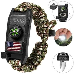 PSK Paracord Bracelet 8-in-1 Personal Survival Kit Urban & Outdoors Survival Knife, Fire Starter, Glass Breaker, Survival Whistle, Signal Mirror, Fishing Hook & String, Compass (Green Camo USA Flag)
