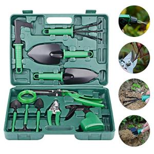 Wodesid 10 Piece Garden Tool Set with Carrying Case for Women/Men/Kids,Durable Kit with Stainless Steel Heavy Duty Gardening Hand Tools - Ergonomic Handle Shovels Gardening Gifts (Green)