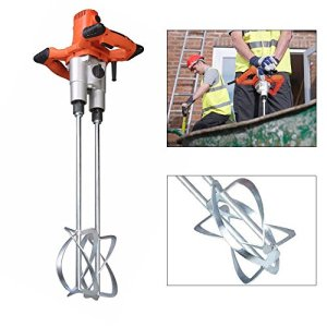 Electric Mortar Mixer, Double Paddle Mortar Mixer Dual High Low Gear Speed Paint Cement Grout 1400W Mixer Stirring Tool for Cement Plaster Grout Mort (US Stock)