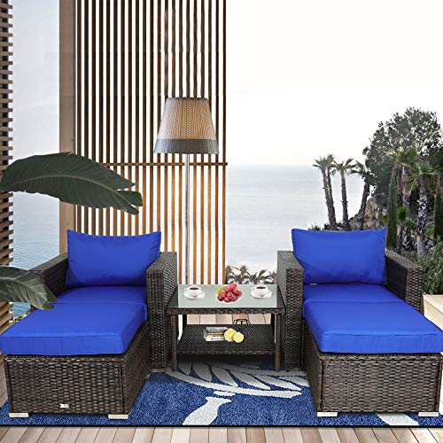 Leaptime Patio Sofa 5-Piece Brown PE Rattan Couch Outdoor Garden Furniture with Royal Blue Cushion