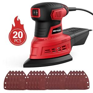 Mouse Detail Sander, Meterk 200W Random Orbit Sander with 20Pcs Sandpapers, 12500RPM Dust Collection System for Tight Spaces Sanding in Home Decoration and DIY Working
