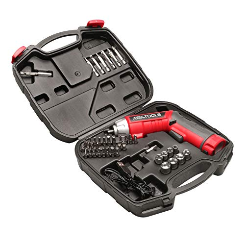 Great Working Tools Cordless Screwdriver Set - 45-Piece Power Screwdriver with 3.6v Lithium-Ion Battery, Pivoting Head, Flashlight and Case for Home Repair Projects, Red/Black