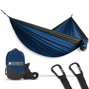 Bear Butt Lightweight Double Camping Parachute Hammock-Large, Portable Two-Person Hammock for Hiking & Backpacking - 16 Colors Available (Dark Blue/Charcoal)