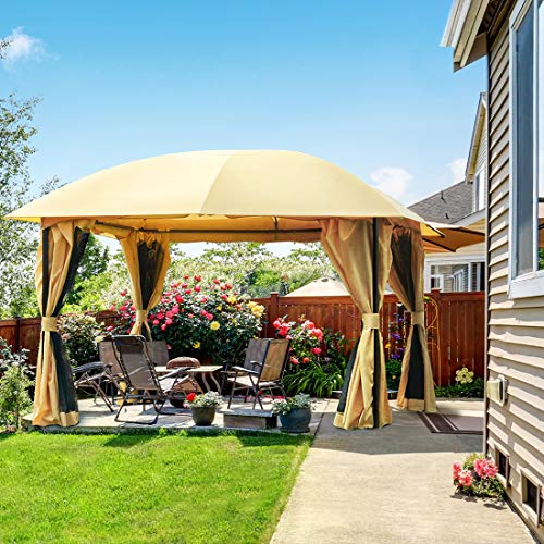 Quictent 12x12 ft Gazebo with Mosquito Netting and Sidewalls Soft top Screened Metal Gazebo Canopy Heavy Duty and Waterproof for Patios,Deck and Backyard (Tan)