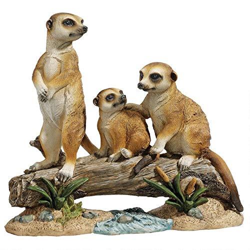 Design Toscano Meerkat Clan Garden Animal Statue, 15 Inch, Polyresin, Full Color