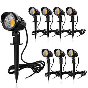 MEIKEE 7W LED Landscape Lights Pathway Lights Low Voltage Spotlights Warm White IP66 Waterproof for Driveway, Yard, Lawn, Patio, Swimming Pool, Outdoor Garden Lights (8 Pack)
