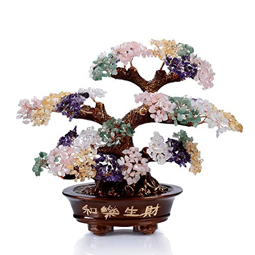 KALIFANO Natural Tree of Life Gemstones Chakra Crystal Tree with Healing Properties - Bonsai Feng Shui Money Tree for Healing and Luck