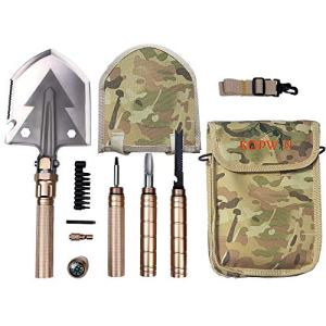 Folding Shovel and Camping Multitool - Survival Shovel with Heavy Duty Blade. Portable and Lightweight Military Grade Camp Shovel and Entrenching Tool for Hiking, Snow, Backpacking, and Car Safety.