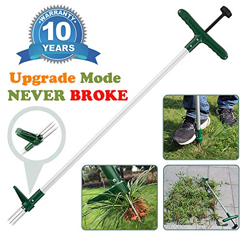 Walensee Stand Up Weeder and Weed Puller, Stand up Manual Weeder Hand Tool with 3 Claws, Stainless Steel and High Strength Foot Pedal, Weed Puller (1 Pack - Stand Up Weeder)