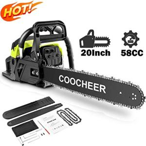 attempting 58CC Gas Engine 20 Inch Guide Board Chainsaw 2 Stroke Gasoline Powered Handheld Chain Saw (with Tool Kit) (Green)