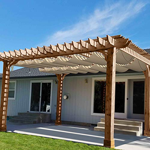 Patio Waterproof Retractable Shade Cover Pergola Replacement Cover Canopy Outdoor Slide Wire Wave Shade Sail Deck 4'Wx16'L Beige