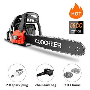 COOCHEER Chainsaw 20-inch Gas Power Chainsaw 3.4 HP and Powerful 58CC Engine, 2 Stroke Handheld Gasoline Chain Saw with Carry Bag for Tree Stumps, Limbs, Tree Felling, and Firewood Cutting(Red)