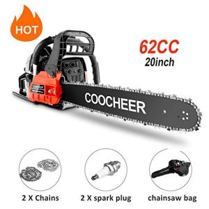 """couply 62CC Cordless Chainsaw, 20"""" Gas Powered Chainsaw with 2 Stroke, Handed Petrol Gasoline Saw Woodcutting Saw for Garden, Farm and Ranch with Tool Kit"""