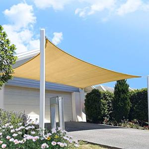 diig Patio Sun Shade Sail Canopy, 10' x 12' Rectangle Shade Cloth Block Sunshade Fabric - Outdoor Cover Awning Shelter for Pergola Backyard Garden Yard (Sand Color)