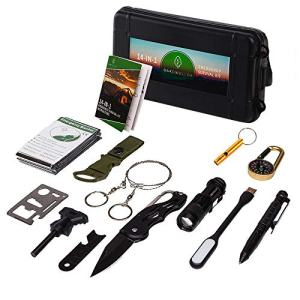 Oak Dweller Emergency Survival Kit 14 in 1, EDC Survival Gear Tool with Fire Starter, Tactical Pen, Flashlight, for Camping, Hiking, Any Outdoor Adventure or Wilderness, Best Gifts for Men and Dad