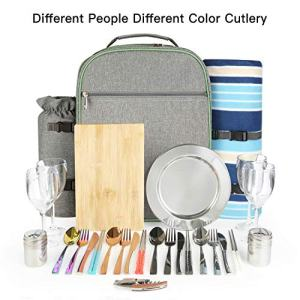 Picnic Backpack for 4 Set with Fleece Blanket, Wine Bottle Holder Bag, Stainless Cutlery, Detachable Insulated Waterproof Compartment Pouch Cooler, Perfect Choice for Family Outdoor Camping