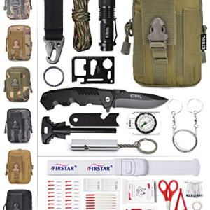 ETROL 22-in-1 Emergency Survival Kit, First Aid Kit, Upgraded Tactical IFAK Molle Pouch Prepper Pocket Compatible Outdoor Kits for Camping, Car, Earthquake, Boat, Hunting, Hiking, Home, Backpack
