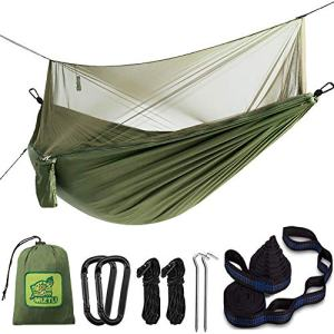 MIZTLI 【Upgraded】 Hammock Camping with Mosquito Net. One Line Bug Net Design Indoor/Outdoor Hammock with Tree Straps. Fast & Easy Assembly. Perfect for Camping, Backpacking, Travel, Hiking.