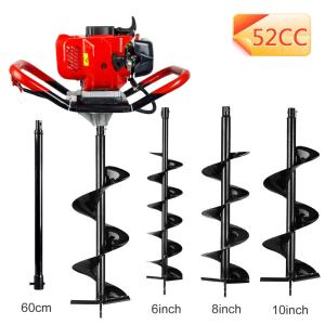 """ECO LLC 52cc 2.4HP Gas Powered Post Hole Digger with 3 Earth Auger Drill Bit 6"""" & 8"""" & 10"""" and Extension Rod"""