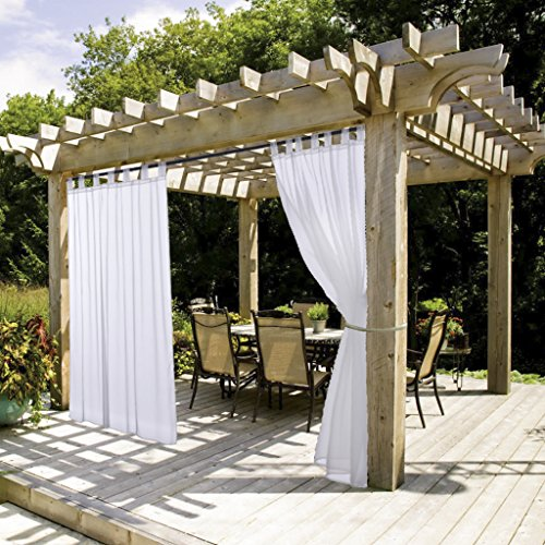 NICETOWN White Outdoor Curtain and Drape for Pergola Lightweight Tab Top Sheer Voile Panel with Rope Tie Back (1 Pack, 54 Inch Wide by 108 Inch Long, White)