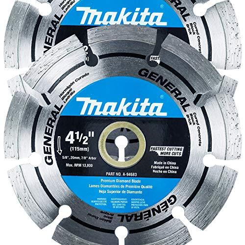 "Makita 2 Pack - 4.5"" Segmented Rim Diamond Blades For 4.5""+ Grinders & Circular Saws - Long-Lasting Cutting For Concrete, Masonry & Brick - 5/8"", 20mm & 7/8"" Arbors"