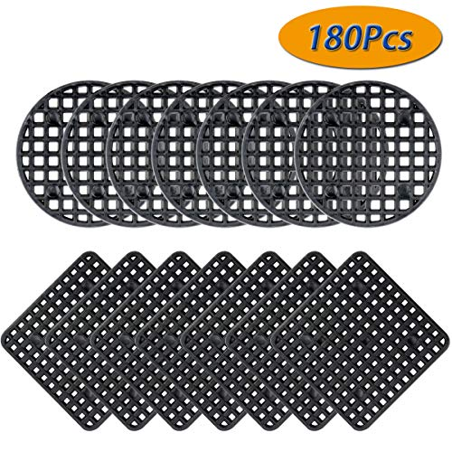 "Twdrer 180PCS Premium Flower Pot Hole Mesh Pad,140PCS 1.8""/4.5cm Round Bonsai Pot Bottom Grid Mat Mesh and 40PCS 2.16"" x 2.16""/5.5cm x 5.5cm Squares Garden's Drainage Rigid Mesh Hole Screens"